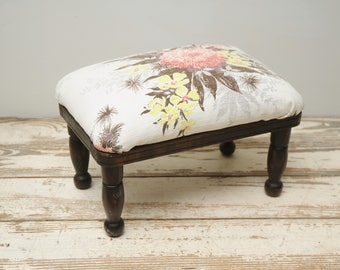 Mid Century Barkcloth Covered Footstool