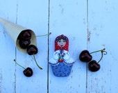 Matryoshka - Medium Signature Babushka art doll, with cherries