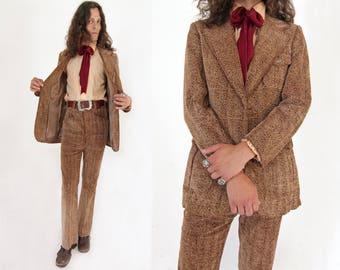 Vtg 70s Corduroy Two Piece Suit 38