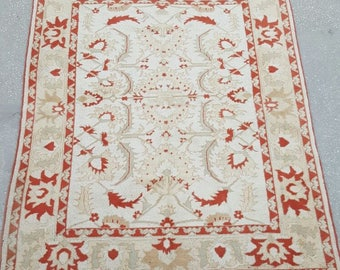 Vintage Square Oushak Rug / 6 by 7 / Milas / Boho / Muted / Red-Beige / Distressed / Floral Rug - 87 in x 69 in