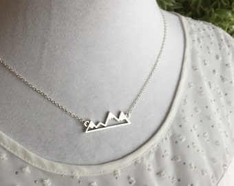 Mountain necklace in Antique Silver, Canadian Rockies