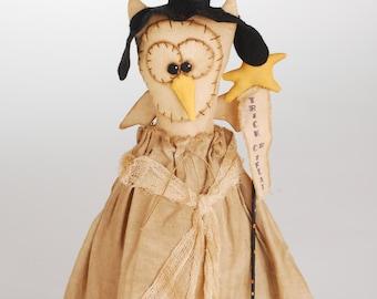 Primitive Owl Witch, Primitive Witch, Owl Witch, Primitive Owl, Halloween Owl