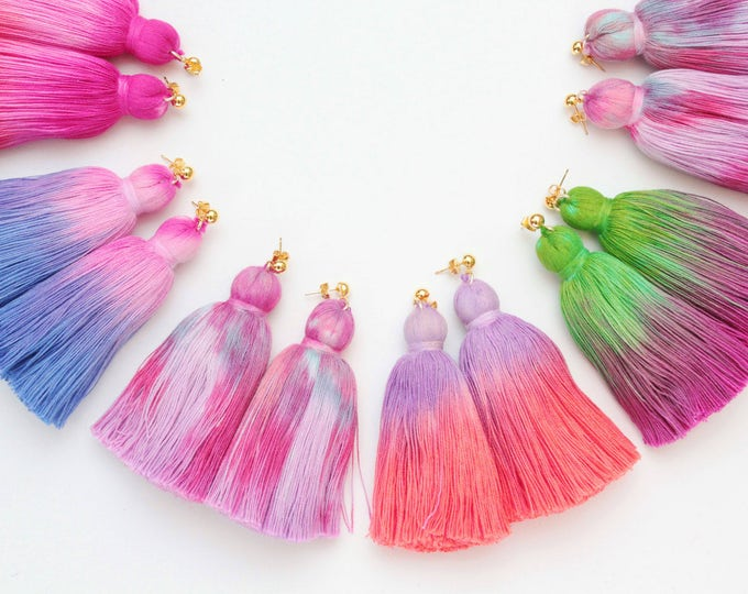 Simple one tassel earrings-tie dyed tassels-hand colored jewelry-fun earrings-statement earrings-tassel jewelry-multicolor options/ FRINGY 4