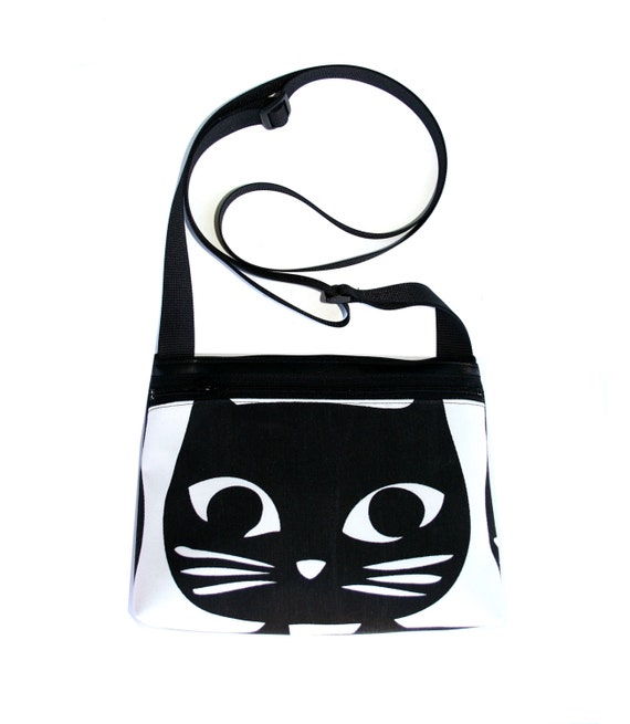 Cat, black cat, boxy cross body, vegan leather, zipper top