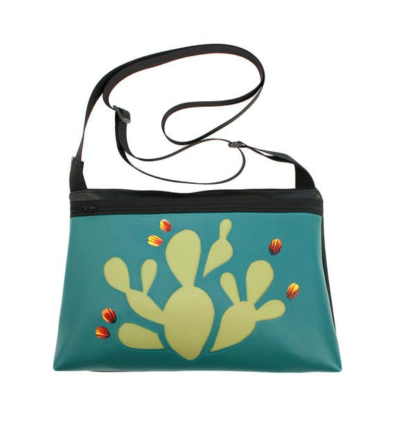 Prickly Pear cactus, turquoise vinyl, medium crossbody, vegan leather, zipper top
