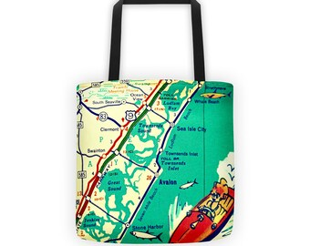 Avalon Map Tote Bag, Jersey Shore Bag, Avalon NJ Summer Outdoors  New Jersey Map Tote Bag, Summer Outdoors New Jersey Gifts 15x15 beach tote