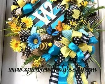 One!  Bee Wreath - Summer Wreath - Monogram Wreath - Burlap - Door Decor - Summer Party - Greeting - Custom Sign
