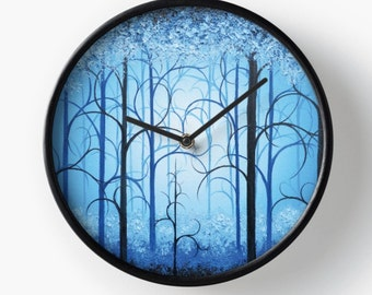Magical Forest Wall Clock, Blue Woods Wall Clock, Fairytale Woodland Clock, Kids Room Decor, Nursery Room Clock, Somewhere Ever After