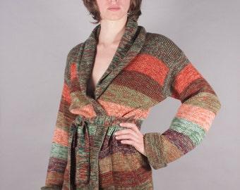 70s Space Dye Green Striped Wrap Sweater