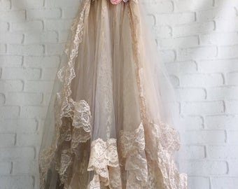 tea stained cream & sterling grey tulle lace boho wedding dress by mermaid miss k