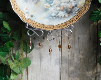 Little Girl Angels Up cycled Collectible Plate by Sandra Kuck with Windchimes