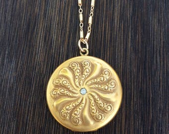 Antique Edwardian Repousse Flower and Brilliant Locket Necklace