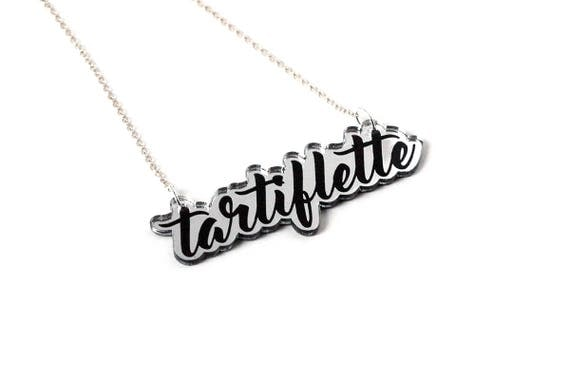 Custom message necklace - name pendant - lasercut acrylic mirror - silver and black - made on order - graphic jewelry - unique - offbeat