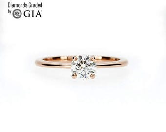 GIA Certificated 0.50ct Diamond solitaire ring made from rose gold, diamond engagement ring, unique, diamond ring, vintage style, red gold
