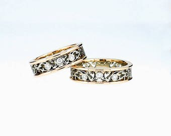 Two tone filigree wedding band set with 6.00mm wide yellow and white gold filigree ring, diamond wedding band, unique ring set, man filigree