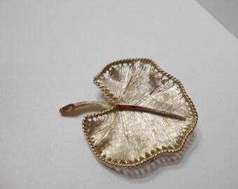 Vintage BSK Brushed Gold Tone Metal Leaf Brooch (8070)