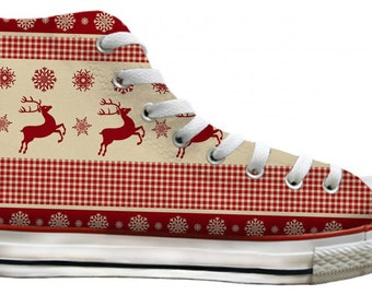 Print Converse Custom High Top w/ Swarovski Crystal Bling red gold Snowflake Reindeer Christmas Chuck Taylor All Star Trainer Sneaker Shoes