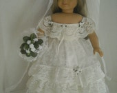 """American Girl 18"""" Doll Antebellum Lace Wedding Gown and Accessories"""