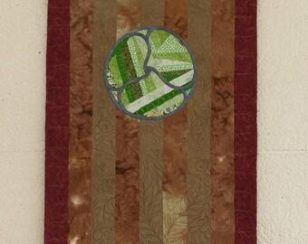"""Small wall hanging quilt, """"Garden Gate"""", Decorative quilt art"""