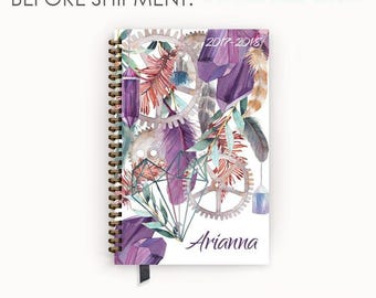 Personalized Planner 2017 - 2018 Calendar Agenda with Bohemian Purple Watercolor Crystal Feather Cover
