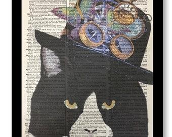 Cat Steampunk, Cat Prints, Cat Picture, Steampunk Art, Dictionary Print, Pop Artwork, Steampunk Humor, Dictionary Print,Dictionary Art Print