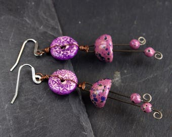 Porcelain Jewelry / Ceramic handmade earrings / Purple dangle