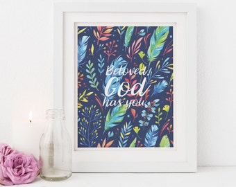 Christian Wall Art, Illustrated Faith, Scripture Print, Nursery Scripture, Christmas Gift for Women, Nursery Scripture for Girls, Colorful