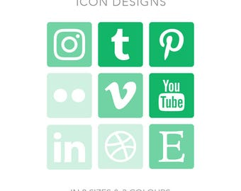19 Rounded Square Social Media Buttons for Blog/Website/more - Instant Download - Green