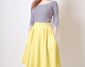 Yellow Skirt, Midi skirt, Flared Skirt, Cotton Sateen Skirt with Pockets