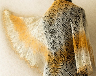 Lace wool shawl - sand colours - honey, grey, white