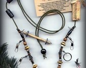 Fly Fishing Lanyard + Tippet Holder with Buffalo Horn, Carved Bone, Wood and Wire Beads on Dark Green 2mm Paracord