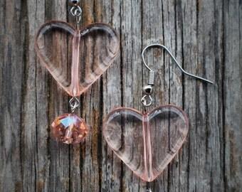 Pink Acrylic Heart Earring