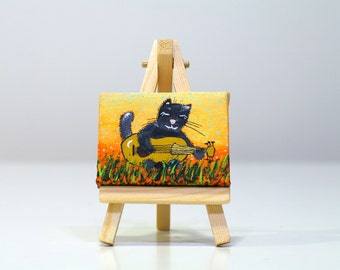 Tiny funny cat with guitar painting with small wooden easel Animal small painting Music art on canvas Black cat painting under 25 usd