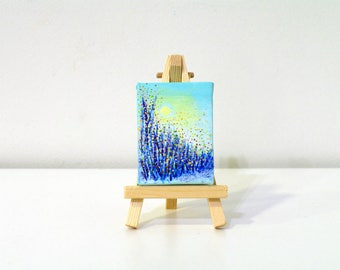 Original acrylic painting on canvas Nature art Grass small abstract painting Miniature painting Nature lover gift Mini painting Tiny art