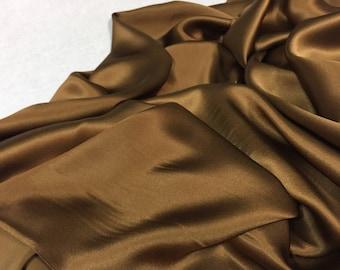 Bronze Brown Silk Charmeuse, Flowy Fabric, Opaque Material, Opaque Fabric, Remnant Fabric, Silk Charmeuse, Dress Fabric