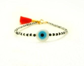 Evil Eye Bracelet - Red Tassel Bracelet - Black & White Beaded Bracelet - Bohemian Bracelet - Friendship Bracelet Xmas Gift for Her under 20