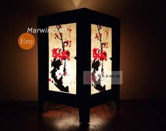 Asian Oriental Japanese Sakura Cherry Blossom Tree Zen Art Bedside Floor Table Lamp Desk Paper Light Shades Gift Living Bedroom Home Decor