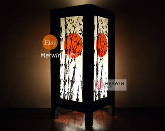 Asian Oriental Japanese Bamboo Sunset Zen Art Bedside Floor Table Lamp Desk Paper Light Shades Gift Living Bedroom Furniture Home Decor