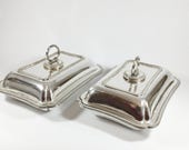Pair of Elkington Plate silver plated serving dishes with covers, Vegetable tureen with lid, Detachable handle, Rectangular shape Platter