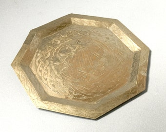 Aikin Amadu brass tray Nigerian brass dish Octagonal brass serving dish Woven ribbon pattern