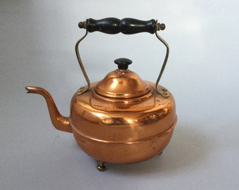 Vintage copper kettle, Copper and brass display kettle, Fireside copper kettle, Wooden handle