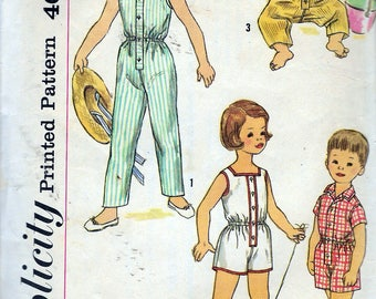 """Vintage 1960's Simplicity 2516 Child's One-Piece Playsuit in Two Lengths Sewing Pattern Size 1 Breast/Chest 20"""""""
