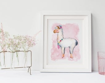 Llama Watercolor Gallery Wall Print - NurseryArt Decor  - Digital Printable Wall Art - Gift For Boy or Girl - Boho - 11x14 - 8x10