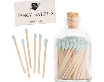 Pale Blue Matchstick Jar™. Pastel blue matches. Colored matches. Stocking Stuffer. Gifts for her. Hostess gift. Home decor.