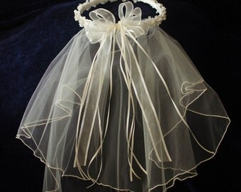 First Communion Off White Ivory Veil with Flowers Pearls Sheer Ribbon Bow
