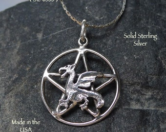 Sterling Silver Dragon Pentacle Pendant, Pentagram with Dragon Necklace, Discrete Pagan Jewelry, Hidden Pentacle, Wiccan Gift -  SE-0535