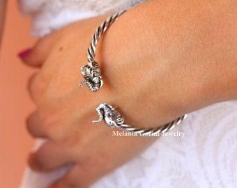 TOLEO Bracelet - 925 sterling silver bracelet with elephant figurines-cuff bracelet-adjustable size