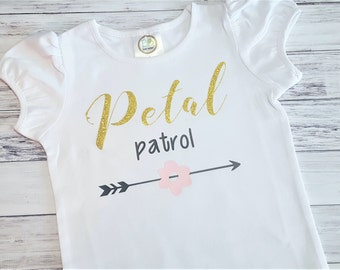 Flower Girl Shirt - Gold Glitter - Petal Patrol Top - Wedding Tee - Wedding Arrows - Flower Girl Gift - bridal party gifts rehearsal dinner