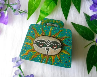 Turquoise Buddhist sun wooden hand painted box