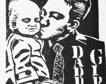Daddy's Girl Lino Print